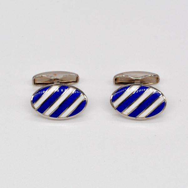gemelli in argento smaltati a righe bianche e blu