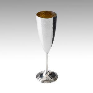 Flute bicchiere battuto in trilaminato d'argento