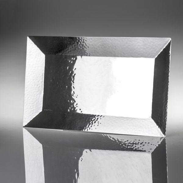Vassoio portaoggetti battuto in trilaminato d'argento