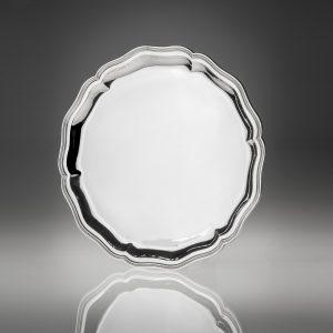 Vassoio tondo stile 700 in argento 800
