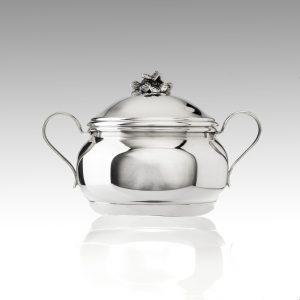 Zuccheriera in argento 925 decorata con fiore