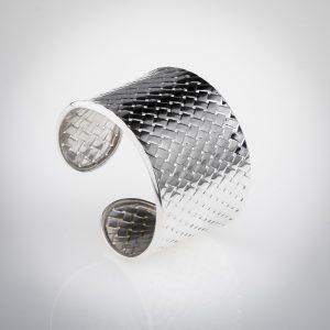Anello bracciale in argento 925 modello fascia intrecciato