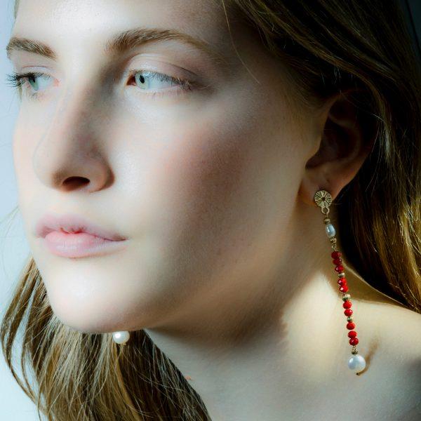 orecchini argento pietre rosse romantici