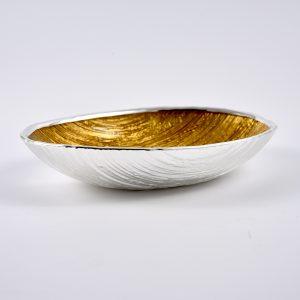 ciotola ovale vetro argento