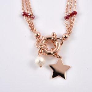 bracciale argento dorato con ciondoli e perle