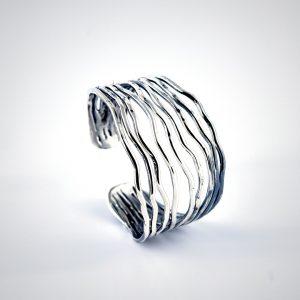 bracciale rigido in argento regolabile