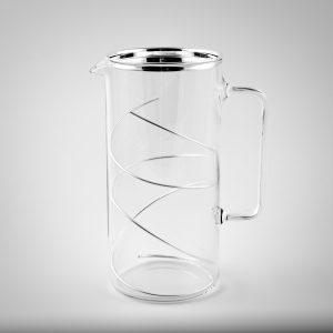 caraffa vetro e filo argento