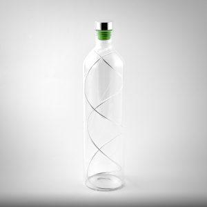 bottiglia vetro e filo argento