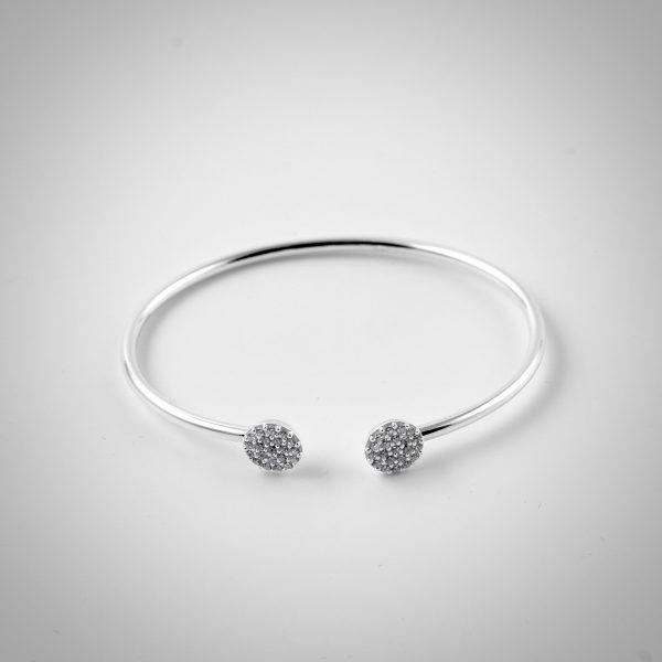 bracciale in argento con zirconi regolabile