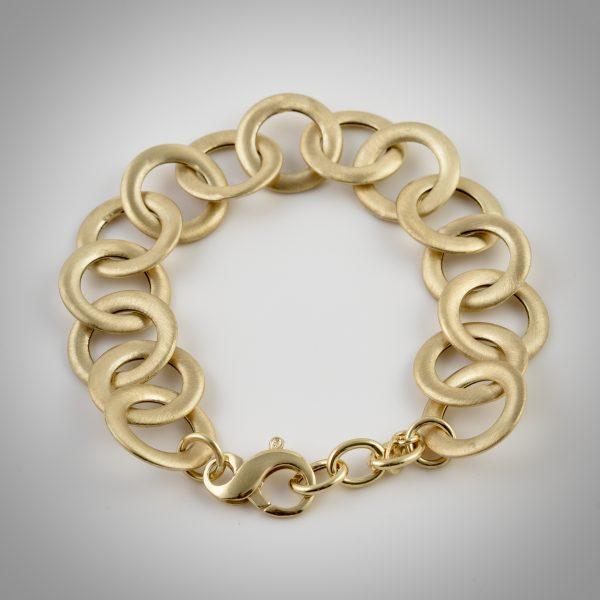 bracciale argento dorato anelli