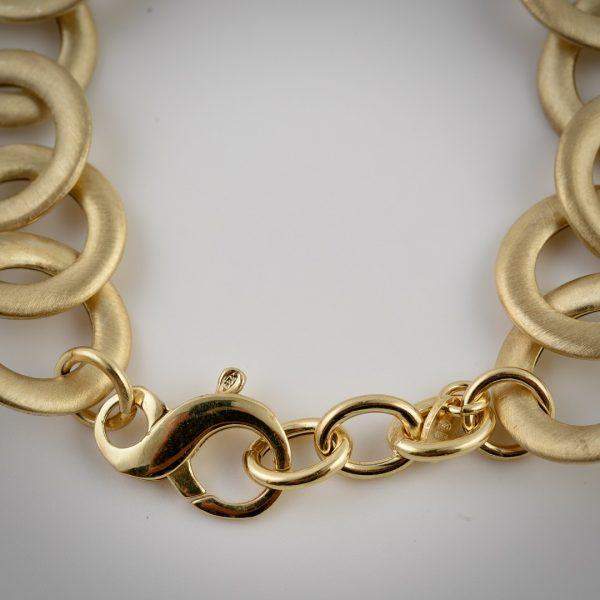 bracciale argento dorato anelli chiusura