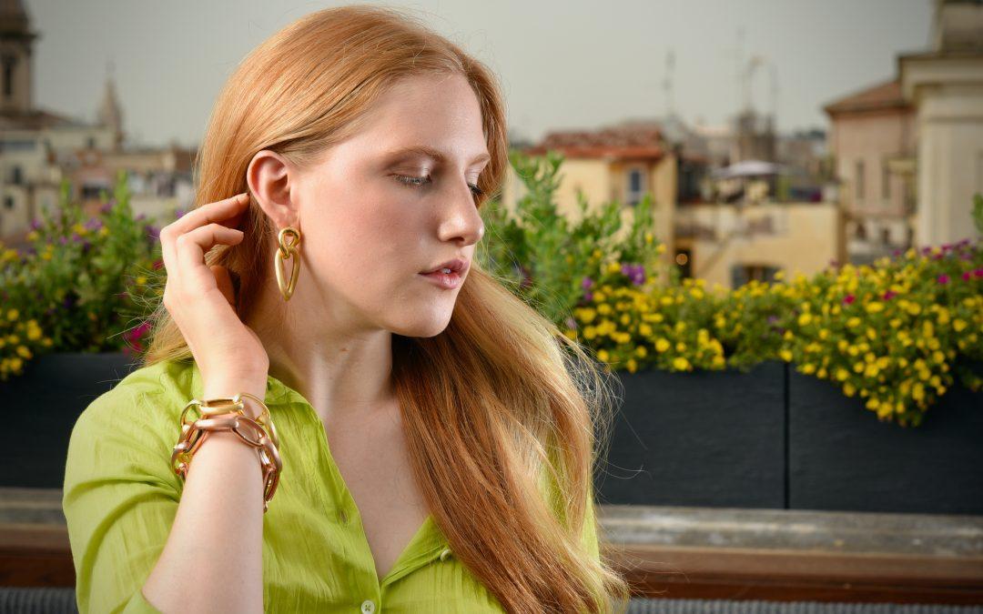 bracciale e orecchini argento catena
