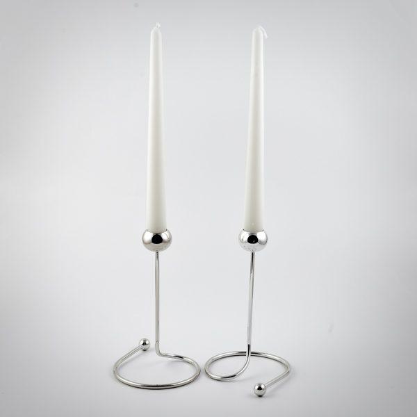 candeliere stilizzato trilaminato argento